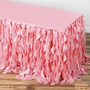 17 Ft Pink Curly Willow Taffeta Skirt