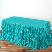 17 Ft Turquoise Curly Willow Taffeta Skirt