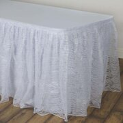 14 Ft  White Lace Skirt Pleated