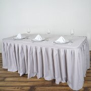17 Ft  Grey Pleated Polyester Table Skirt