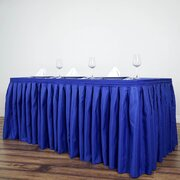 17 Ft Royal Blue Pleated Polyester Tablecloth