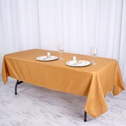 60x102 Polyester Rectangula Tablecloth Gold
