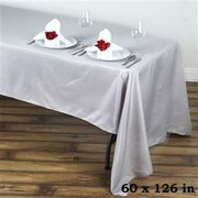 "Rectangular Tablecloth Polyester  SILVER 60"" x 126"""