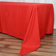 "72x120"" Red Polyester Rectangular Tablecloth"