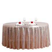 "120"" Premiun Blush Sequin Round Tablecloth For Wedding Banquet Party"