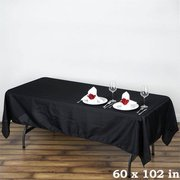 "60x102"" Black Polyester Rectangular Tablecloth"