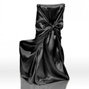 Satin Universal Chair Cover Black