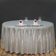 Sequin Silver Tablecloth 120""
