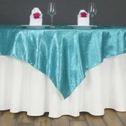 "Satin Table Overlay 72"" x 72"" - Turquoise"