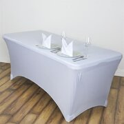 6 FT White Rectangular Stretch Spandex Tablecloth