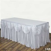White Double Drape Table Skirt / Satin - 14