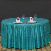 "120"" Premium Turquoise Sequin Round Tablecloth For Wedding Banquet Party"