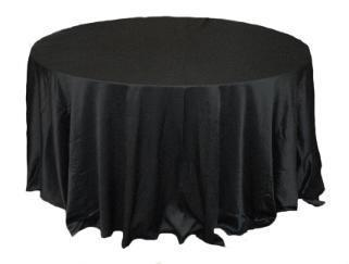 Linen: Black Round Tablecloth 108