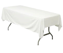 "Linen: White Rectangular Tablecloth 60""x108"""