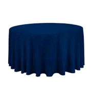 Linen: Navy Blue Round Tablecloth 120""