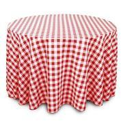 Linen: Red and White Checkered Round Tablecloth 108""