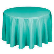 Linen: Turquoise Round Tablecloth 108""