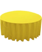 Linen: Yellow Round Tablecloth 108""