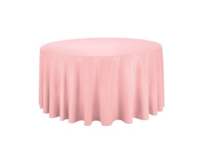 Linen: Pink Carnation Round Tablecloth 120