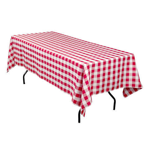 Linen: Red and White Checkered Rectangular Tablecloth 60