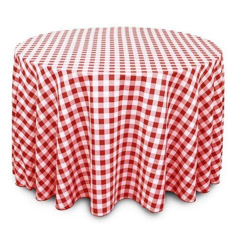 Linen: Red and White Checkered Round Tablecloth 120