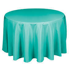 Linen: Turquoise Round Tablecloth 120