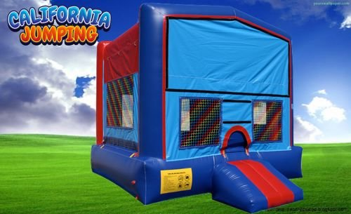 15' X 15' Red and Blue Bounce House w/Basketball Hoop