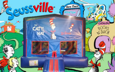 Dr. Seuss Bounce House (red/blue) w/Basketball Hoop