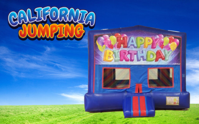 Happy Birthday Bounce House (red/blue) w/Basketball Hoop