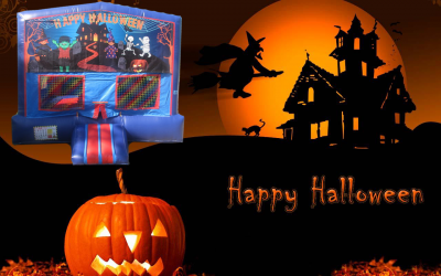 Happy Halloween #2 Bounce House (red/blue) w/Basketball Hoop
