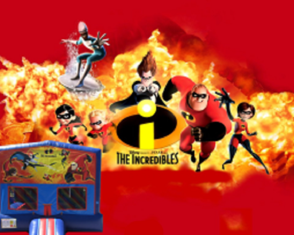 Incredibles Bounce House (red/blue) w/Basketball Hoop