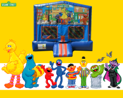 Sesame Street Bounce House (red/blue) w/Basketball Hoop