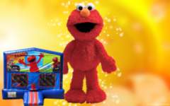 Elmo Bounce House (red/blue) w/Basketball Hoop