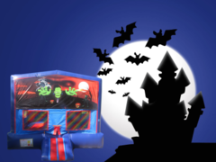 Halloween Bounce House (red/blue) w/Basketball Hoop