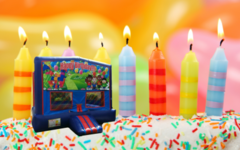 Happy Birthday Bounce House (red/blue)
