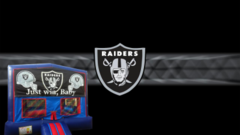 Oakland Raiders Bounce House (red/blue) w/Basketball Hoop
