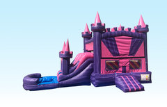 Pink and Purple Castle Combo (Dry Only)Bounce House with a Slide Perfect for Backyard Parties!