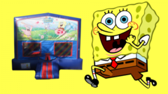 Spongebob Bounce House (red/blue) w/Basketball Hoop