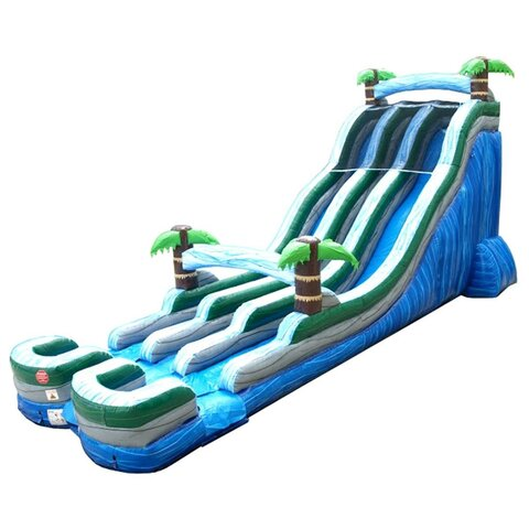 24' Tropical Marble Double Lane Inflatable Wet/Dry Slide