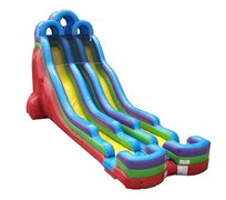24' Retro Rainbow Double Bay Inflatable DRY Slide