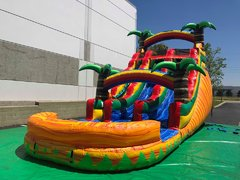 18' Tropical Dual Lane Slide Dry/Wet Inflatable Slide