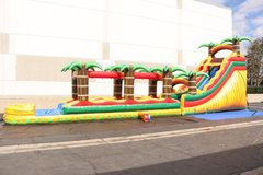 18' Tropical Dual Lane Wet Inflatable Slide & Slip N Slide