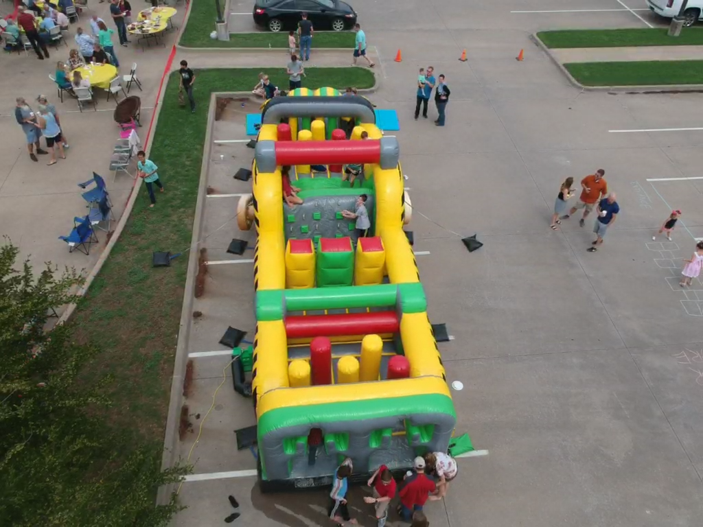 large obstacle course at a church picnic