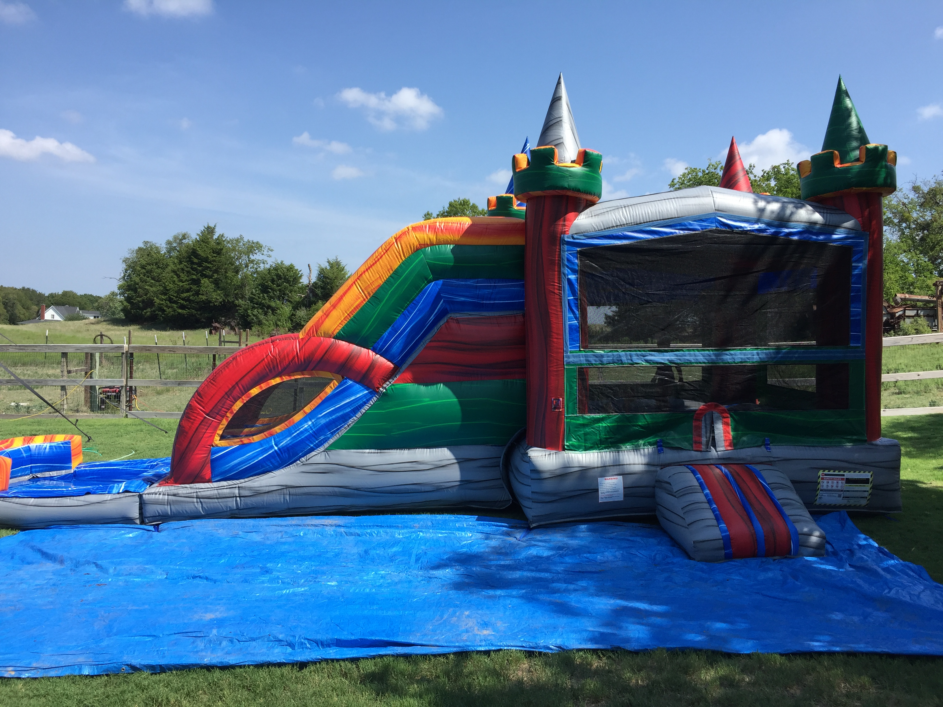 duncanville multi colored bounce house
