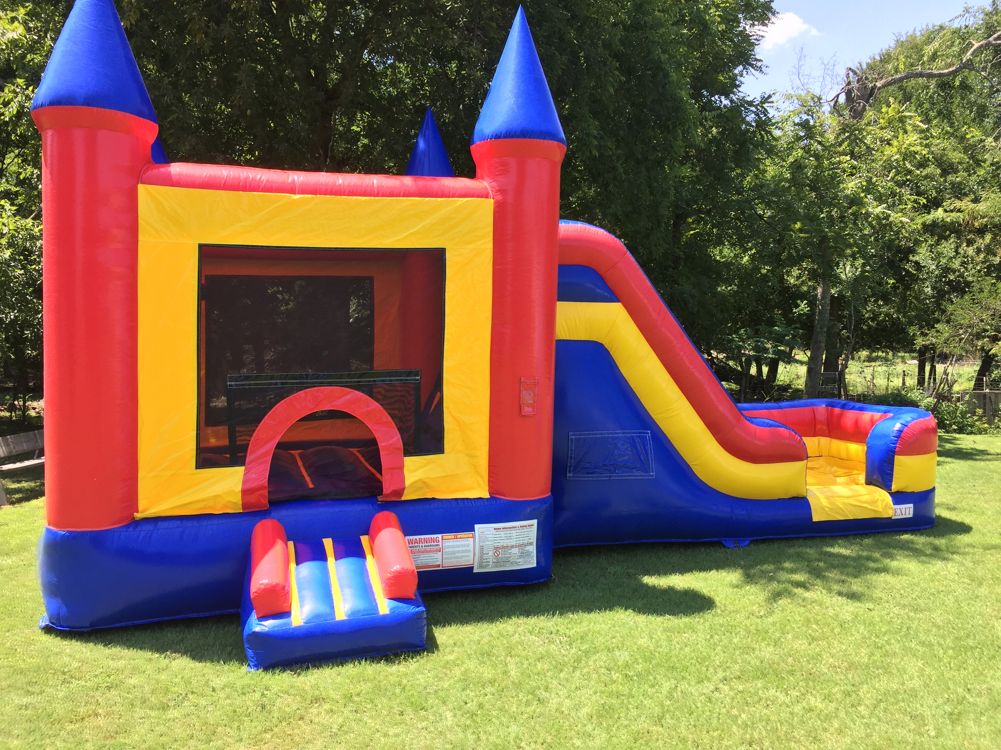 bounce house with a slide
