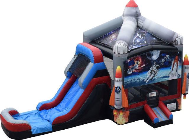 Wet Space Bounce House with Slide