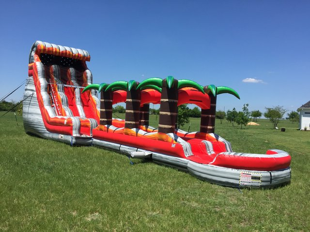 Wet 24 ft Dual Lane Volcano Rush with Slip-n-Slide and Pool