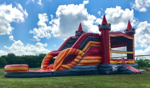 Wet Fire Castle Combo with Dual Slide and Pool