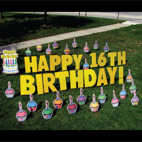 Cupcakes Happy Birthday Yard Card Greeting