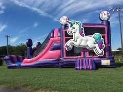 PREMIUM Wet Unicorn Combo with Dual Laned Slide and Pool